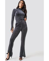 NA-KD Sparkly Flared Trousers Silver - Black
