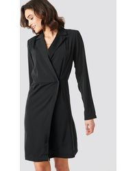 NA-KD Collared Wrap Over Midi Dress - Zwart
