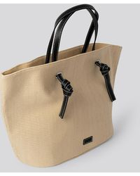 NA-KD Raffia Basket Tote - Naturel