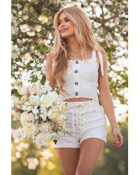NA-KD White Organic Tie Detail Denim Shorts