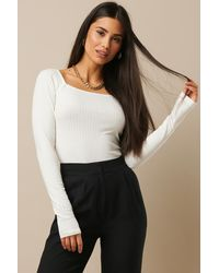 NA-KD - Square Neck Ribbed Top - Lyst