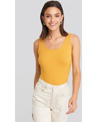 NA-KD Yellow Ribbed Scoop Neck Bodysuit