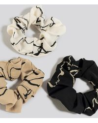 NA-KD 3-Pack Floral Ink Print Scrunchies - Multicolore
