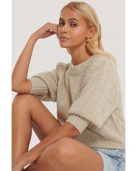 NA-KD Puff Ls Round Neck Knitted Sweater - Naturel