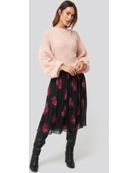 NA-KD Pleated Sheer Midi Skirt - Zwart
