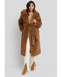 NA-KD Soft Faux Fur Long Coat Brown