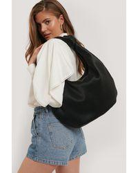 NA-KD Black Striped Embossed Knot Hobo Bag