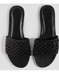 NA-KD Black Braided Slip In Sandals