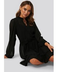 NA-KD Black Long Sleeve Flowy Mini Dress