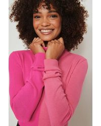 NA-KD Pink Colour Block Knitted Turtle Jumper