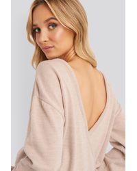 NA-KD V-shape Deep Back Sweater Pink