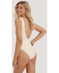 NA-KD Swimwear High Leg Swimsuit - Natur