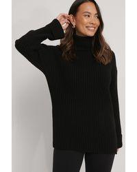 NA-KD Black Ribbed Knitted Turtleneck Side Slit Sweater