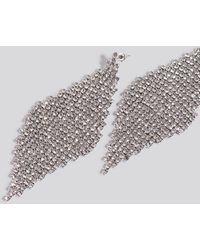 NA-KD Oversize Rhinestone Rhombus Earrings - Metallic