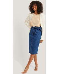 NA-KD Belted Midi Denim Skirt - Bleu