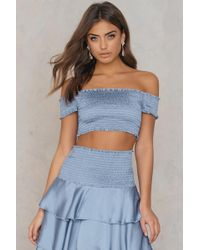 NA-KD - Smock Satin Cropped Top - Lyst
