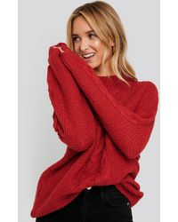 NA-KD Oversized Cable Knitted Sweater - Rot