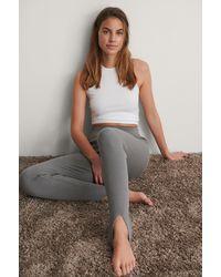 NA-KD Trend Geribde Legging - Grijs