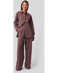 NA-KD Gestructureerde Pantalon - Paars