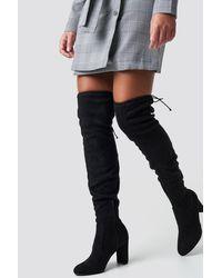 NA-KD Black Overknee High Heel Boot