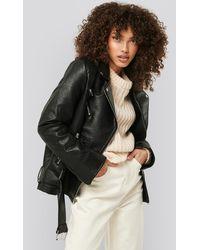 NA-KD Oversized Faux Leather Jacket - Zwart
