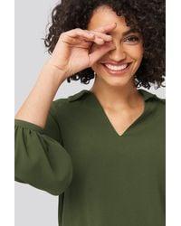 Trendyol V-Neck Collar Blouse - Grün