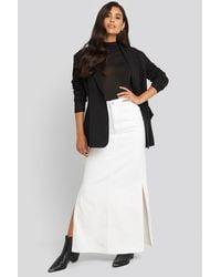 NA-KD Side Split Maxi Denim Skirt - Wit