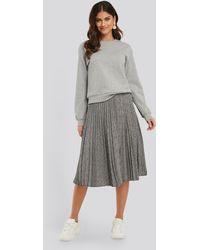 NA-KD Plaid Pleated Midi Skirt - Gris