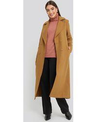 Trendyol Buttoned Wool Coat - Bruin
