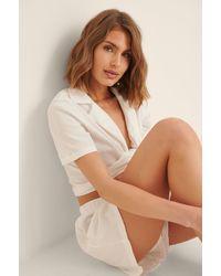 Trendyol White Waffle Pyjamas Set