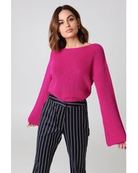 NA-KD - Cropped Long Sleeve Knitted Sweater Cabernet - Lyst