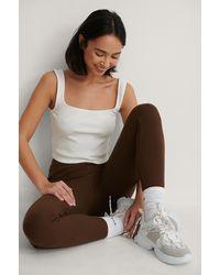 NA-KD Brown Embroidery Detail Rib Leggings