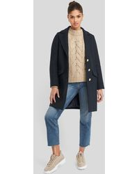 Trendyol Button Detailed Coat - Blauw
