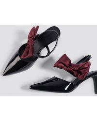 NA-KD - Bow Detail Pointy Heels Burgundy - Lyst