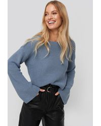 NA-KD Blue Cropped Long Sleeve Knitted Sweater