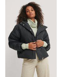 NA-KD Black Padded Hood Drawstring Jacket