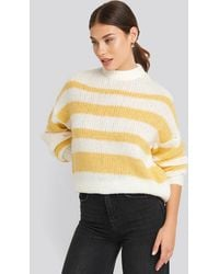 NA-KD Striped Round Neck Oversized Knitted Sweater - Geel