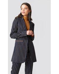 NA-KD Striped Long Blazer - Blauw