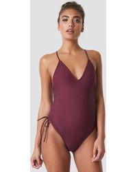 NA-KD - Drawstring Side Swimsuit Purple - Lyst
