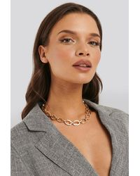 NA-KD Statement By Influencers Laura Genovino Chunky Chain Necklace - Mettallic