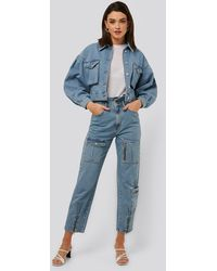 NA-KD Trend Locker Sitzende Jeans - Blau