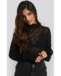 NA-KD - Embroidery Smock Blouse - Lyst