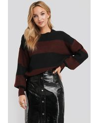 NA-KD Block Color Knitted Sweater - Zwart
