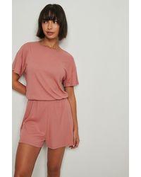 NA-KD Lingerie Gerecyclede Zachte Geribde Playsuit Pyjama - Roze