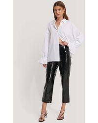 NA-KD High Waisted Patent Pants - Zwart