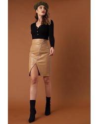 NA-KD Front Zipper PU Skirt - Marron