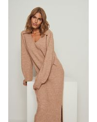 NA-KD Brown Collar Long Knitted Dress