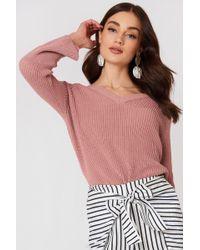 Mango - Flared Sleeve Ribbed Jumper Pink - Lyst