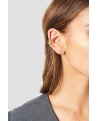 NA-KD Sparkling Earrings And Cuff Set - Métallisé