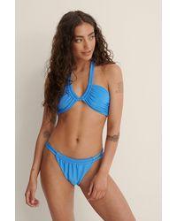 NA-KD Blue Shiny Rib Double Strap Bikini Top